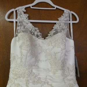 Satin, embroidered lace, A-line Bridal Gown by Ole